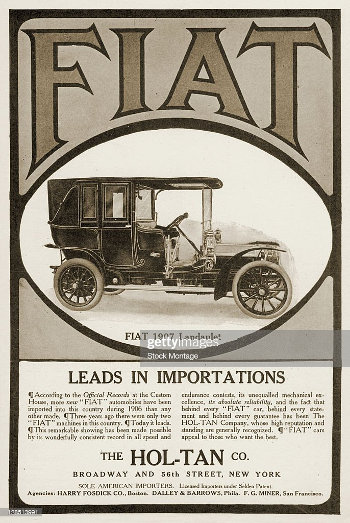Advertisement for the Fiat Landaulet automobile, 1907  The text