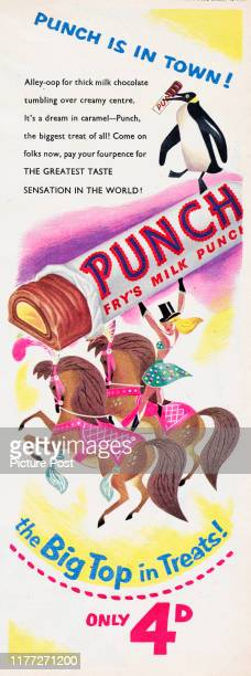 Advertisement for the Fry's Milk Punchchocolate bar with the caption 'Punch is in town' Original Publication Picture Post Ad Vol 69 No 01 P 11 pub...