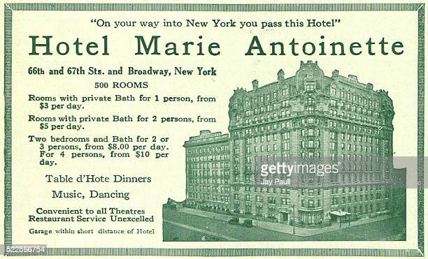 Advertisement for the Hotel Marie Antoinette on Broadway New York 1919