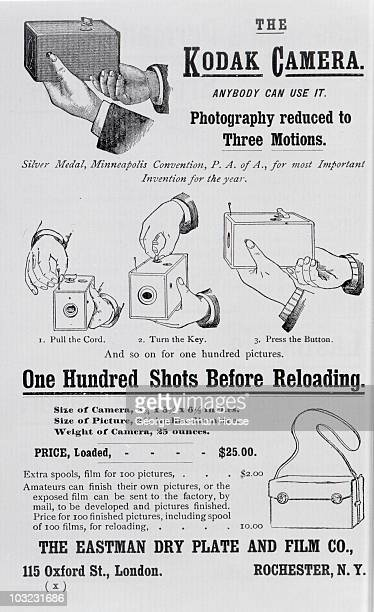 Advertisement for 'the Kodak Camera' 1888 The ad includes illustrated threestep instuctions for using the camera along with a price list $25 for the...