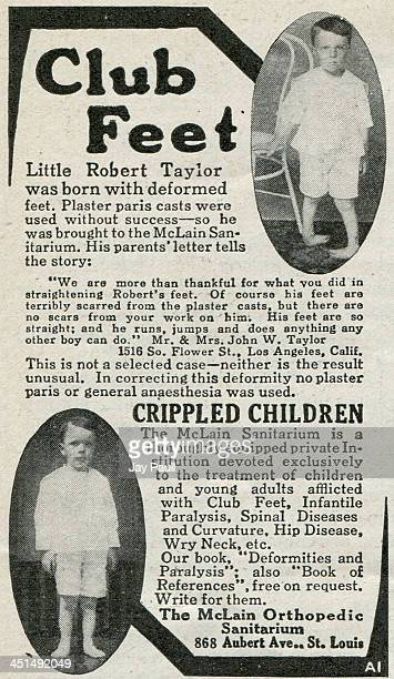 Advertisement for the McLain Orthopedic Sanitarium for the treatment of children and young adults with club feet 1918