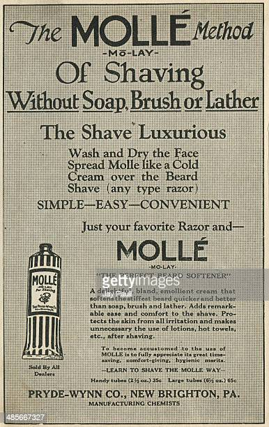 Advertisement for the Molle method of shaving without soap brush or lather by the Pryde Wynn Company New Brighton Pennsylvania 1921