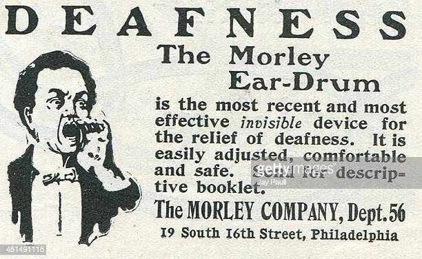 Advertisement for the Morley ear drum to remedy deafness by The Morley Company 1902
