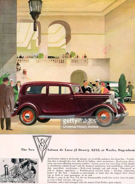 1934 advertisement for The New Ford two doors V8 Saloon de Luxe