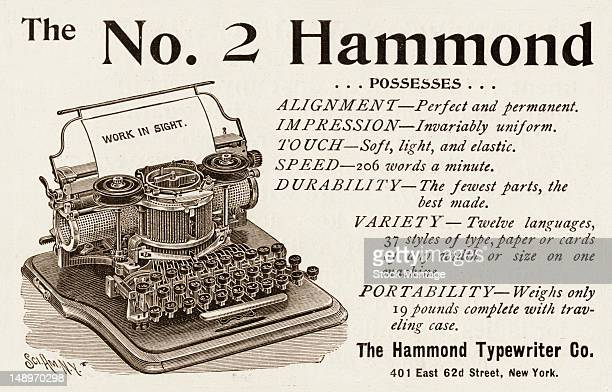 Advertisement for the No2 Hammond typewriter mid to late 1890s The ad features text extolling its virtues of 'alignment impression touch speed...