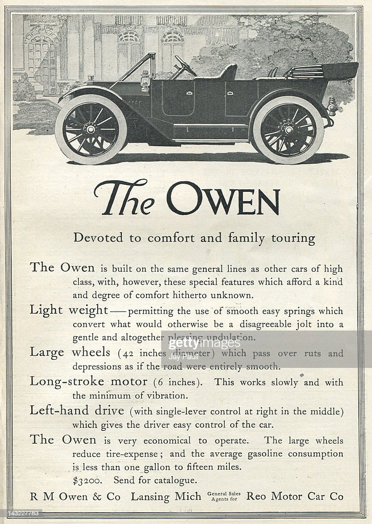 Advertisement for the Owen automobile by the Reo Motor Car
