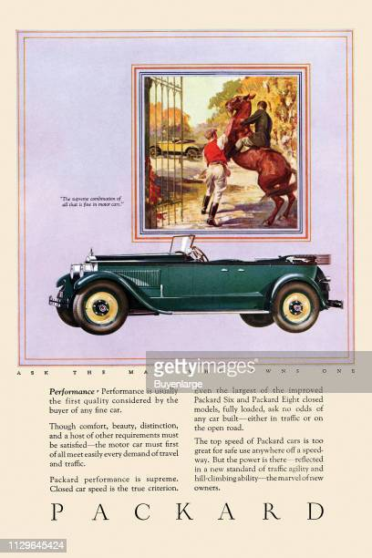 Advertisement for the Packard automobile company features an illustration of the car below another image of a horse and rider, 1932.