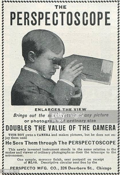 Advertisement for the Perspectoscope picture viewer by the Perspecto Manufacturing Company in Chicago Illinois 1899