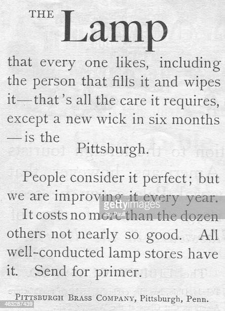 Advertisement for the Pittsburgh Lamp by the Pittsburgh Brass Company, Pittsburgh, Pennsylvania, 1892.