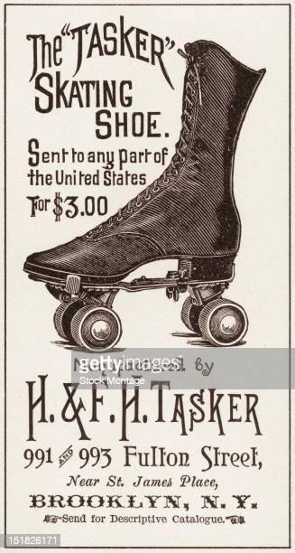 Advertisement for the 'Tasker' skating shoe manufactured by Brooklynbased H FTasker 1880s