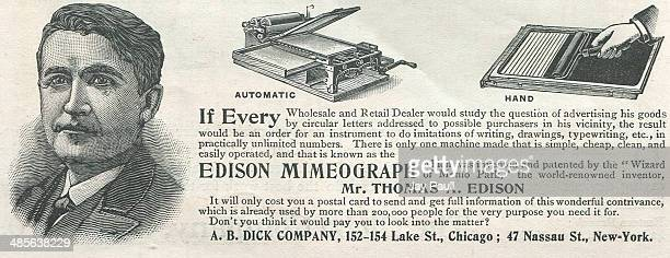Advertisement for the Thomas Edison mimeograph copying machine offered by the AB Dick Company Chicago Illinois 1897