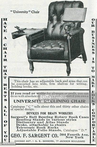 Advertisement for the University reclining chair by the George F Sargent Company in New York, 1902.