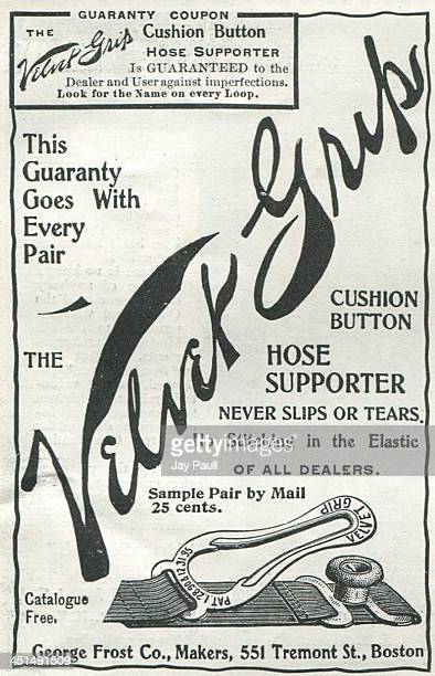 Advertisement for the Velvet Grip hose supporter by the George Frost Company , 1898.