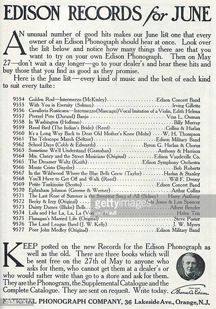 Advertisement for Thomas Edison records by the National Phonograph Company Orange New Jersey 1907 The ad lists the hit songs and artists for June 1907