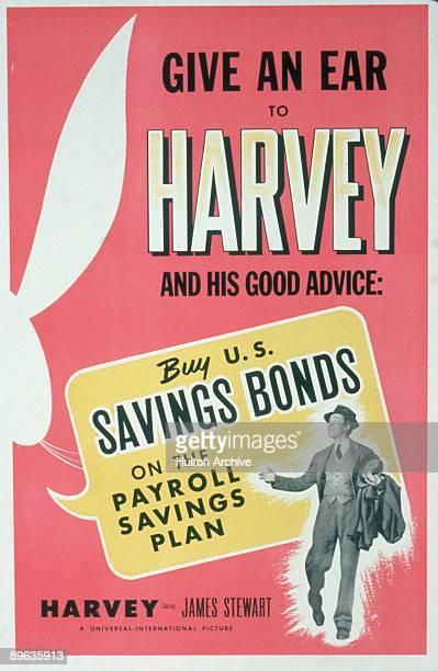 Advertisement for US savings bonds incorporates an ad for rhe motion picture 'Harvey' starring James Stewart 1950