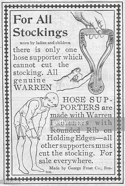Advertisement for Warren Hose Supporter by the George Frost Company in Boston, Massachusetts, 1892.
