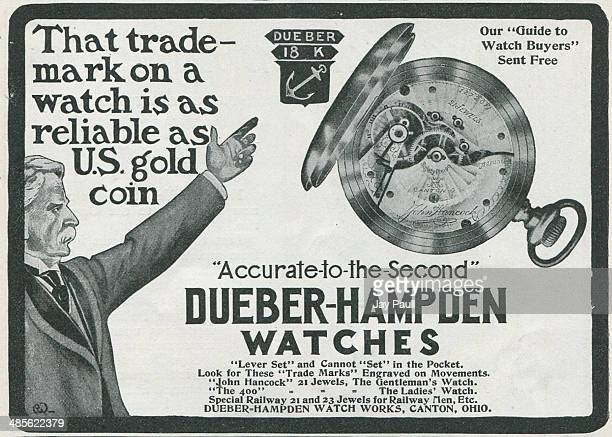 Advertisement for watches by the Dueber Hampden Watch Works Canton Ohio 1901 The John Hancock model is pictured