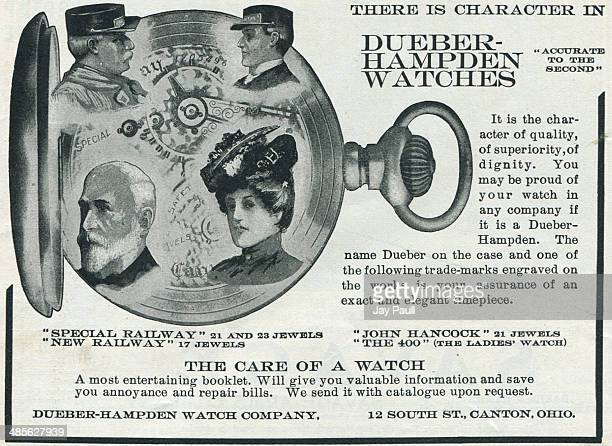 Advertisement for watches by the Dueber Hampden Watch Works Canton Ohio 1902 The John Hancock model is pictured