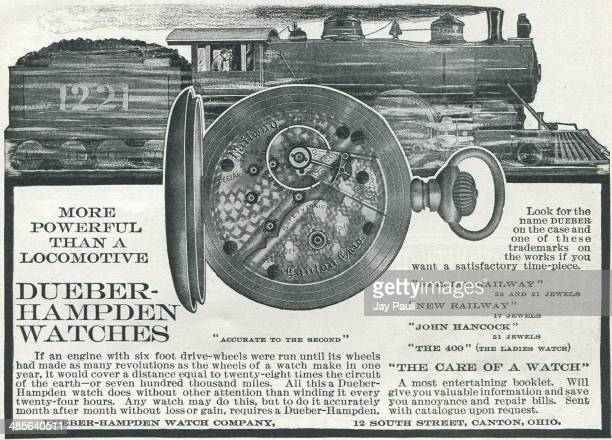 Advertisement for watches by the Dueber Hampden Watch Works Canton Ohio 1902 The special railway model is pictured