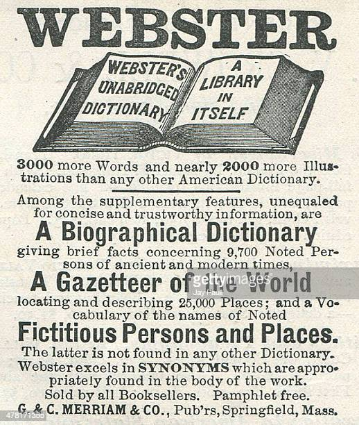 Advertisement for Webster's Dictionary published by the G and C Merriam and Company Springfield Massachusetts 1888