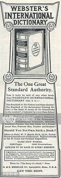 Advertisement for Webster's International Dictionary by G and C Merriam and Company Springfield Massachusetts 1906