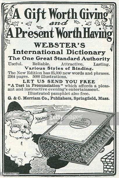 Advertisement for Webster's international dictionary for Christmas published by GC Merriam Company in Springfield Massachusetts 1902 The ad pictures...