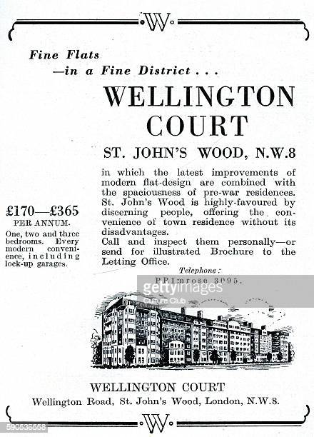Advertisement for Wellington Court St Johns Wood NW8 Flats to let in mansion block built before World War Two Advert reads ' Fine flats in a fine...
