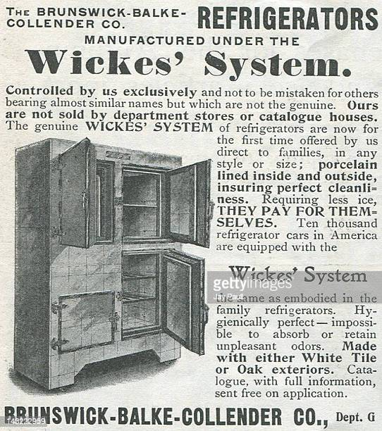 Advertisement for Wickes' System refrigerators made by the BrunswickBalkeCollender Company 1900