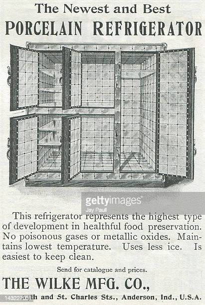 Advertisement for Wilke porcelain refrigerator made by the Wilke Manufacturing Company 1900