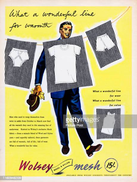 Advertisement for Wolsey Mesh fabric showing underwear items and the caption 'What a wonderful line for warmth' Original Publication Picture Post Ad...