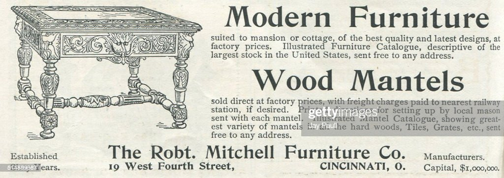 Advertisement For Wood Mantels And Modern Furniture By The Robert Mitchell  Furniture Company In Cincinnati,