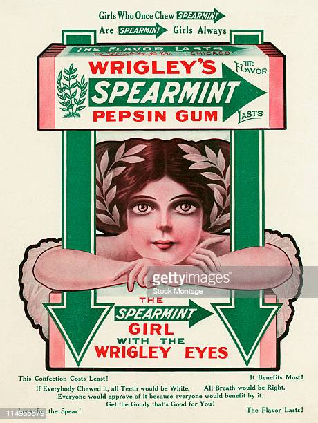 Advertisement for Wrigley's Spearmint gum features an illustration of a package of chewing gum above the 'Spearmint Girl with the Wrigley Eyes' 1911...