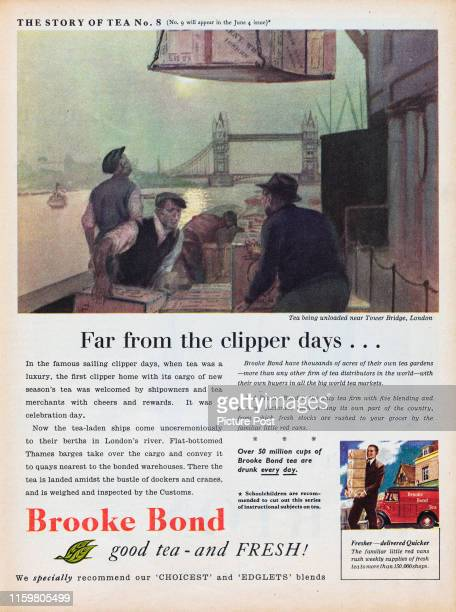 Advertisement forBrooke Bond Tea featuring an artists painting of tea being unloaded near Tower Bridge London Original Publication Picture Post Ad...