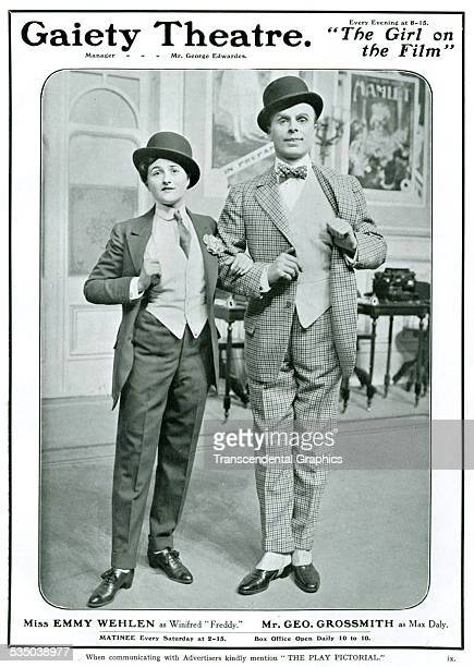 """Advertisement in the English theatrical magazine """"The Play"""" for a pair of Vaudeville entertainers at the Gaiety Theatre in London, England in 1908 ."""