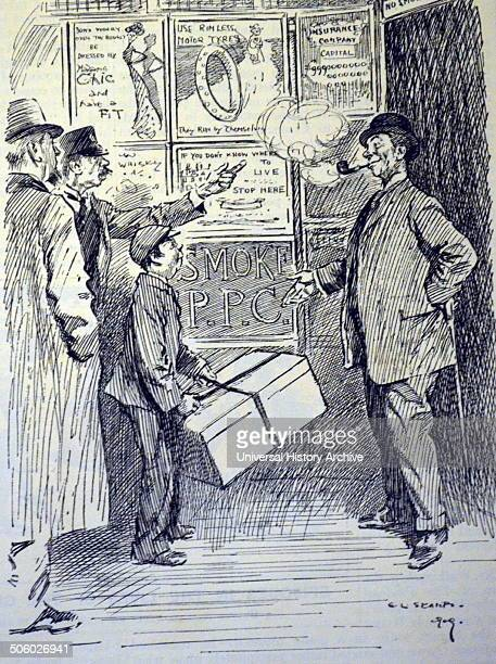 Advertisement in the London Underground railway lift contradicting the 'No Smoking' notice Cartoon from ''Punch'' London 1909 Photo by