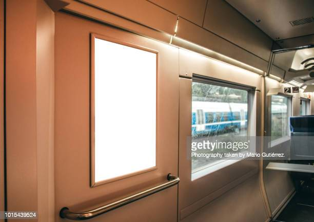 advertisement panel inside train - commercial sign stock pictures, royalty-free photos & images