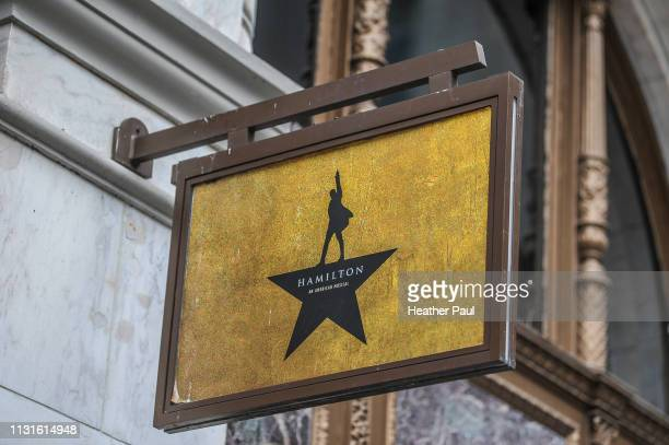 advertisement sign for the broadway musical hamilton - hamilton musical stock pictures, royalty-free photos & images
