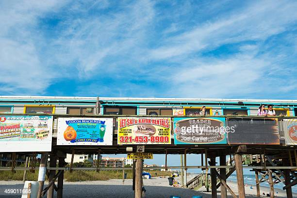 cocoa beach pier in florida - cocoa beach stock pictures, royalty-free photos & images