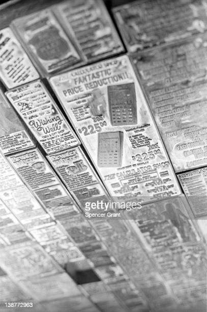 Advertisements are set in 'hot type' in the Boston Globe composing room Boston Massachusetts 1973