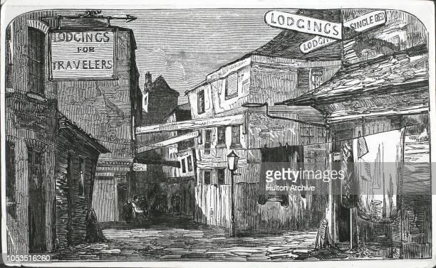 Advertisements for lodgings in Duke Street, a poor area of Southwark, London, 1851.