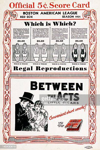 Advertisements for shoes and cigars are on the cover of the 1931 scorecard printed in Boston Massachusetts in 1931