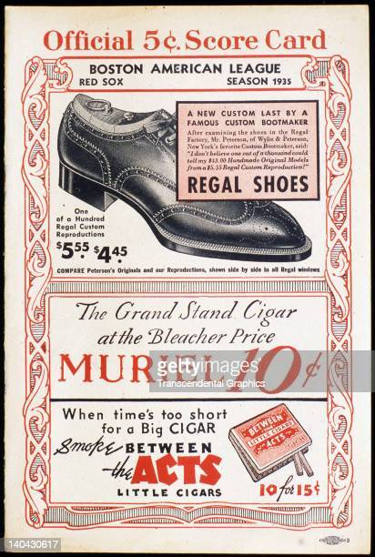 Advertisements for shoes and cigars are on the cover of the 1935 scorecard printed in Boston Massachusetts in 1935