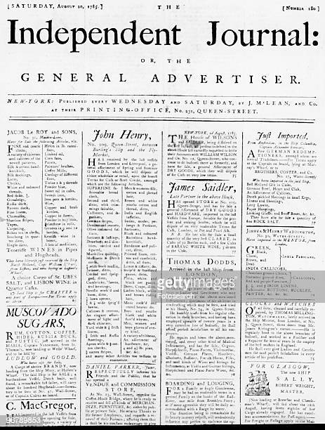 Advertisements In The Independent Journal or The General Advertiser arranged in four columns and dated Saturday August 20 1785