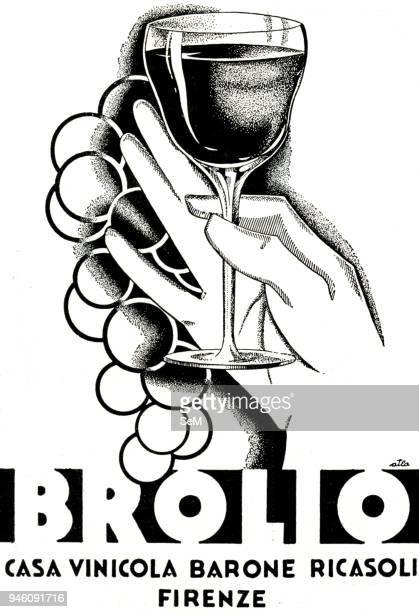 Advertising 1900 Brolio italian wine Casa vinicola Barone Ricasoli Florence italian advertising Print 1900
