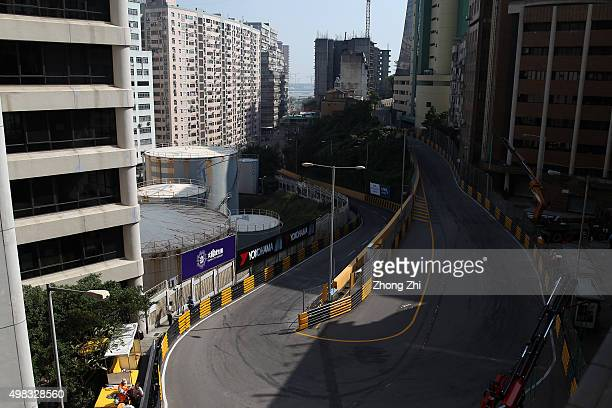 Advertising around the circuit during the SJM Macau GT CupFIA GT World Cup event as part of the 62th Macau Grand Prix on November 22 2015 in Macau...