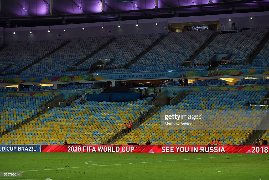 Advertising around the Maracana Stadium after the FIFA World Cup 2014 Final saying SEE