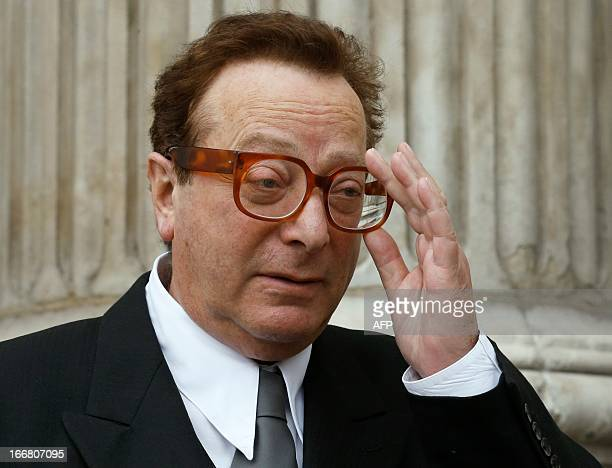 Advertising baron Maurice Saatchi leaves St Paul's Cathedral at the end of the ceremonial funeral of British former prime minister Margaret Thatcher...