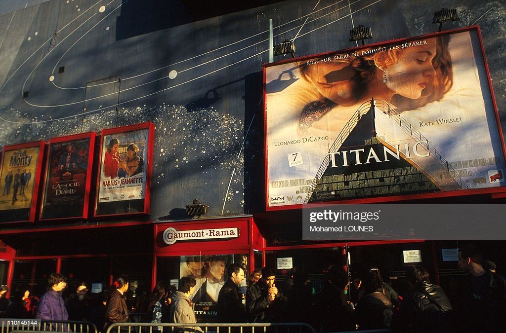 Advertising before the Cinema For The Film Titanic In Paris, France In April, 1998. : News Photo