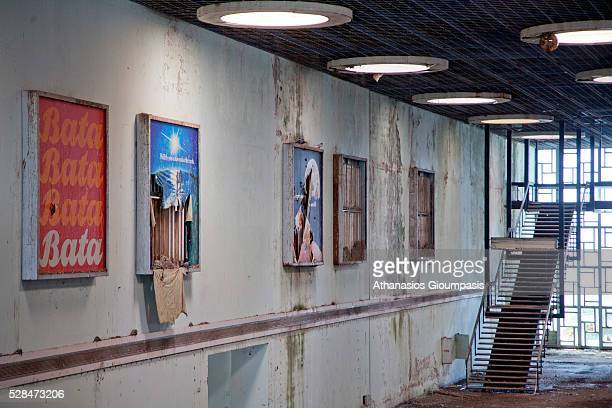 Advertising billboard at the abandoned airport on April 28, 2016 in Nicosia, Cyprus .On 27 March 1968 a modern new terminal, designed by the German...
