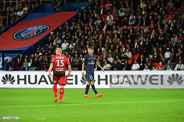 Advertising boards during the French Ligue 1 game between Paris Saint-Germain and Dijon FCO at Parc des Princes on September 21, 2016 in Paris,...